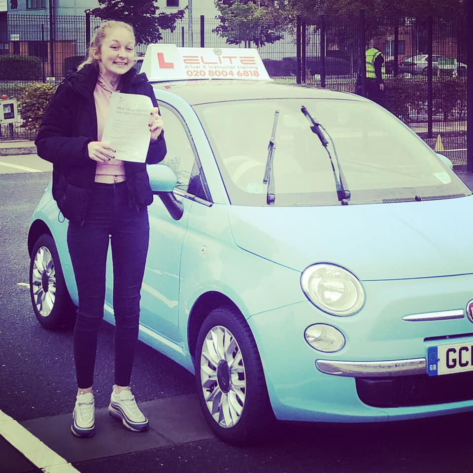 Charlotte passed her test after taking lessons in Farnborough with Adrienne