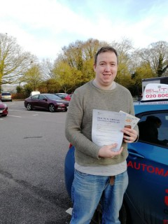 Another #firsttimepass, this time for Pierluigi's pupil Jamie at #Redhill Test Centre. Well done Jamie!