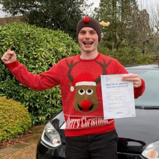 HUGE #congratulations to Kim's pupil William for a fantastic #zerohero #drivingtest pass at #Chertsey! Bonus points for the #Christmasjumper!!