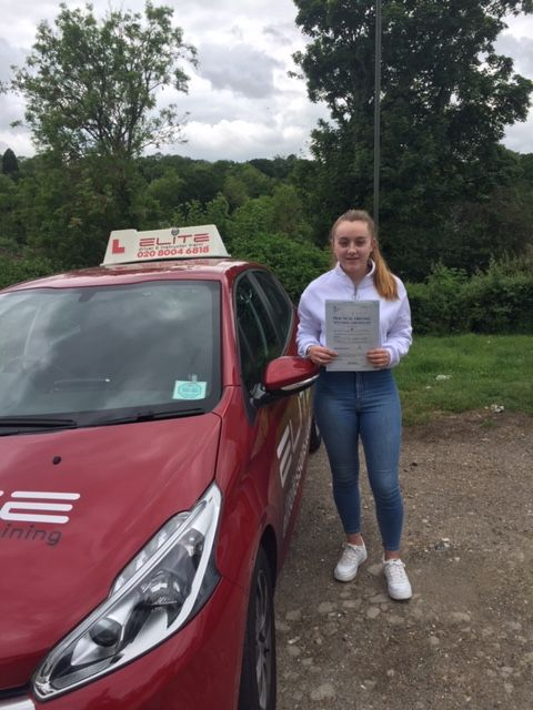 Well done to Sue's pupil Morgan for a lovely #drivingtest pass at #WestWickham Test Centre! #croydondriving #eliteinstructors