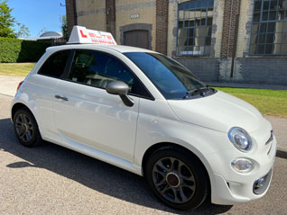 Adrienne Fiat 500 driving instructor