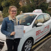 Alice passed her test at Chertsey after driving lessons with Kim