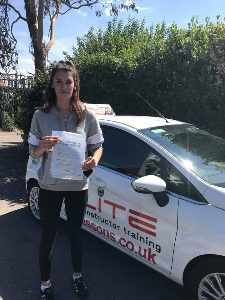 Beth took driving lessons and passed in Reigate