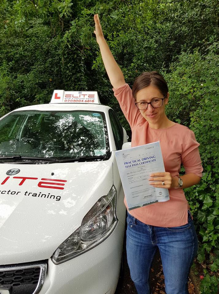 Diana took driving lessons and passed with Kim in Weybridge