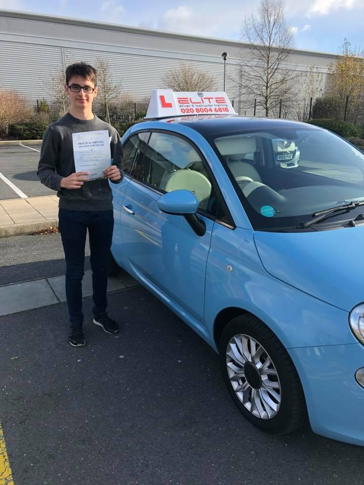 Kieran Burr, Aldershot passed his driving test at Farnborough Test Centre