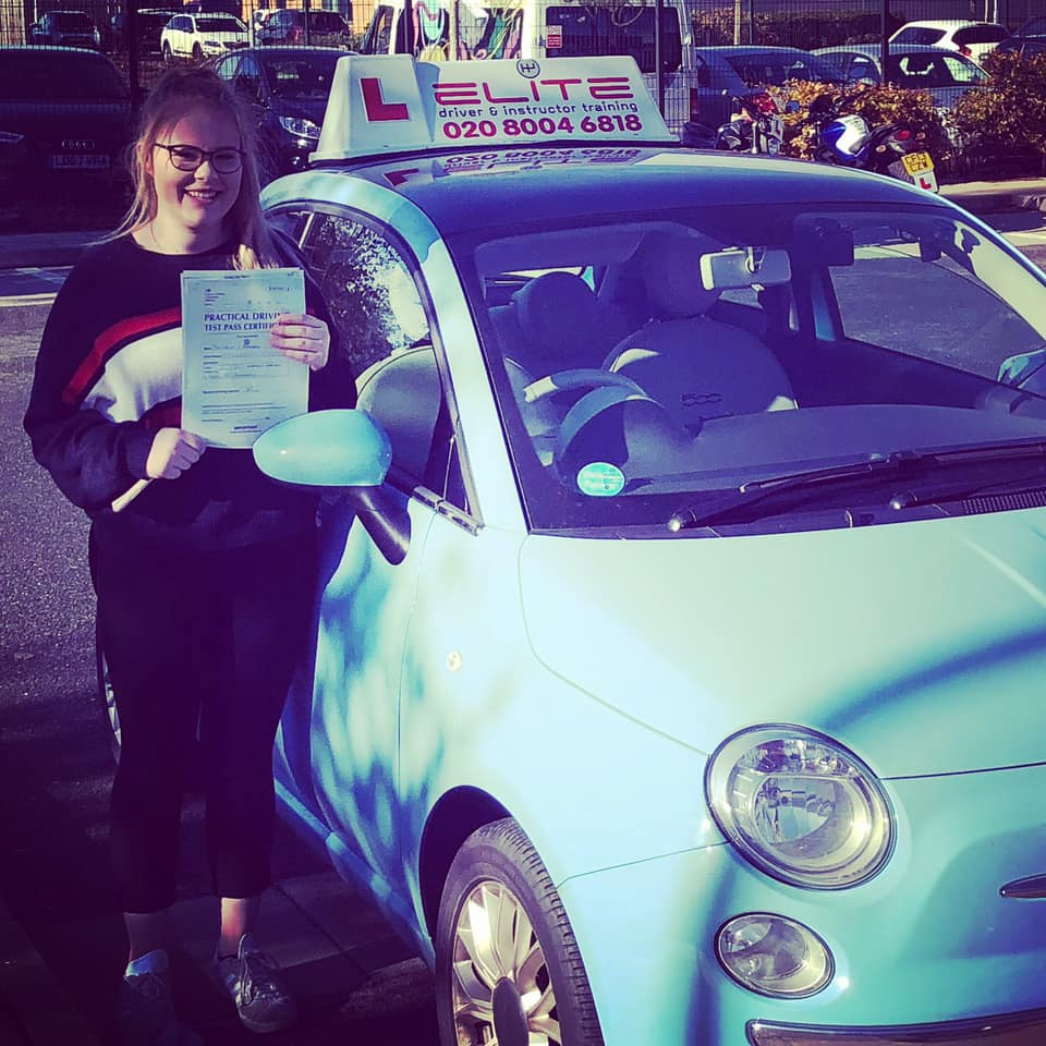 Abbie passed her test after taking driving lessons with Adrienne