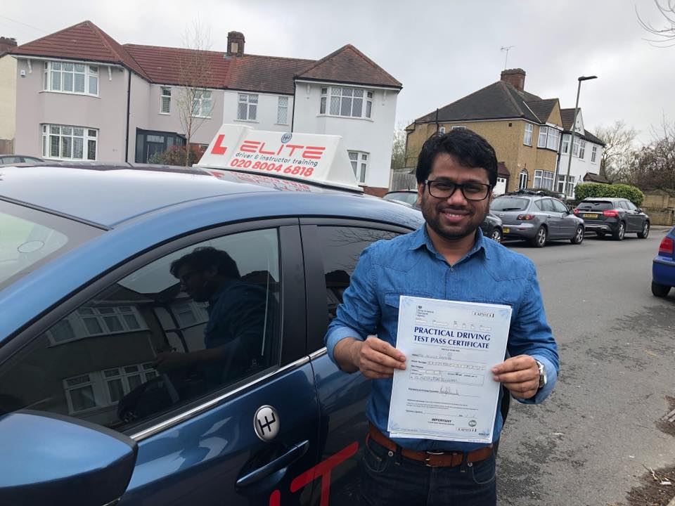 Amin passed his driving test test after taking driving lessons with ELITE instructor Moh