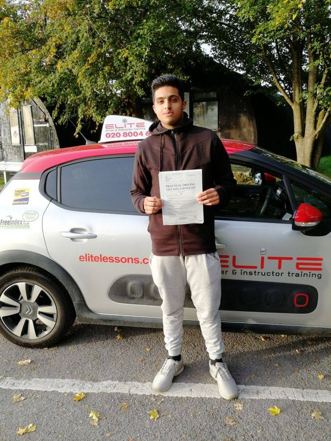 Ammar passed his test in Redhill after taking lessons withPierluigi