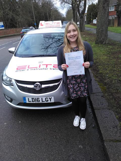 Bethany passed with Paul 1st time at West Wickham