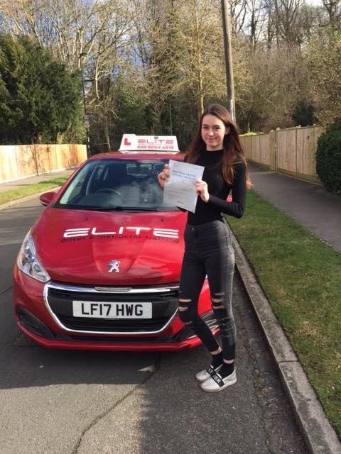 Claire passed with Sue first time with ZERO faults