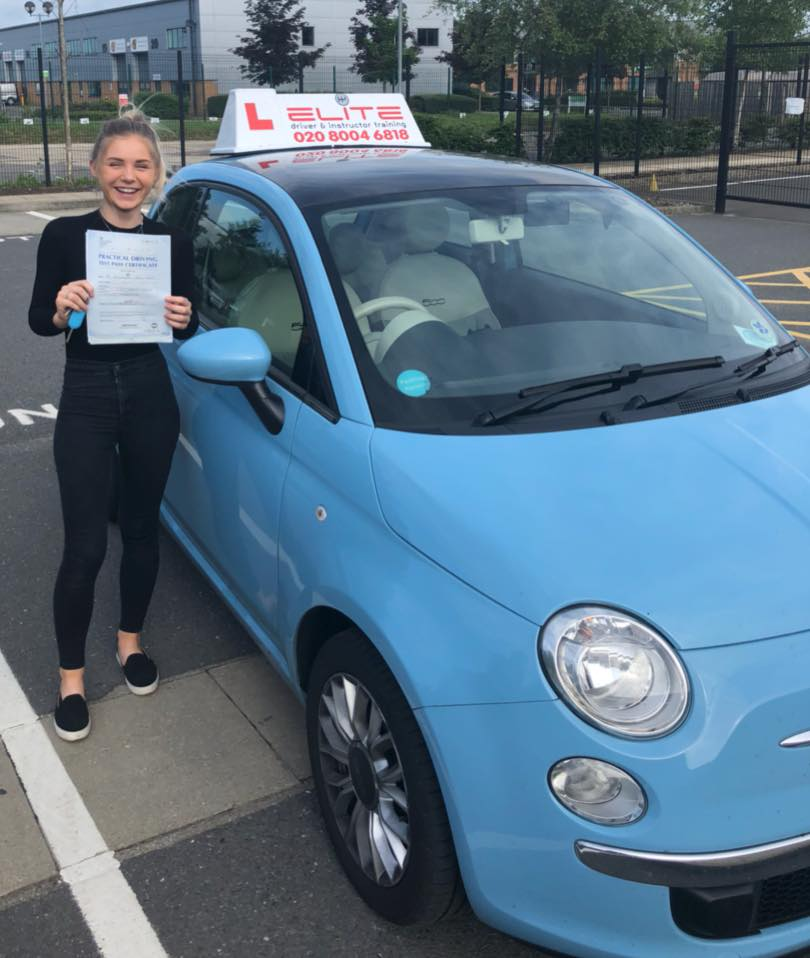 Ella passed her test at camberley after taking lessons with Elite instructor Adrienne