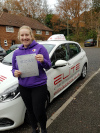 Faye passed after taking lessons with Kim in Weybridge