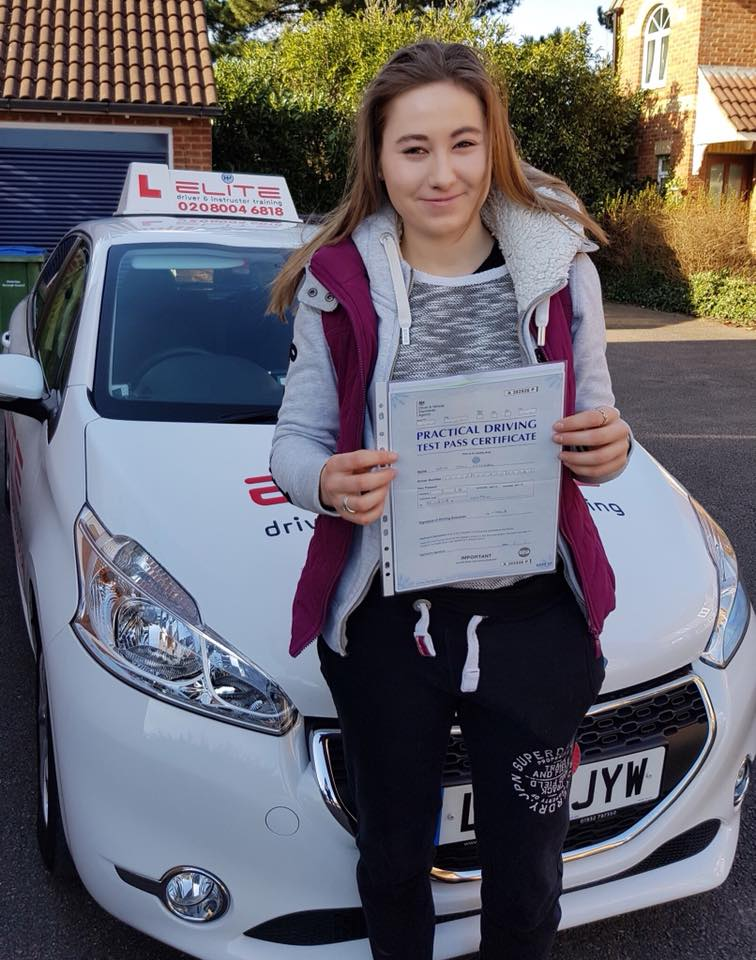 Jodie passed with Kim after taking lessons in Weybridge