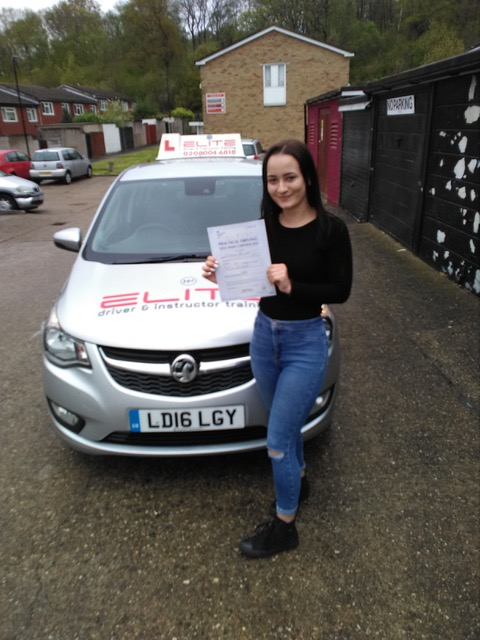 Kayleigh passed her test at West Wickham test centre after taking lessons with Elite instructor Paul