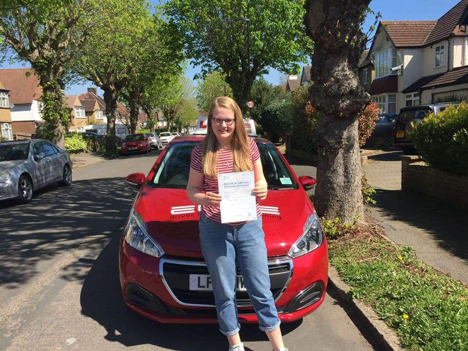 Maisie passed first time at Reigate after taking driving lessons with Sue