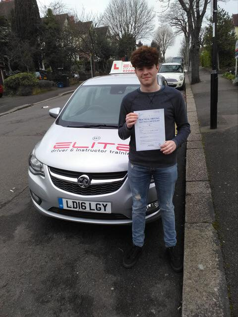 Max passed his test at Mitcham with Elite instructor Paul