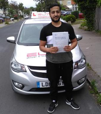 Omar passed his test after taking lessons with Elite instructor Paul