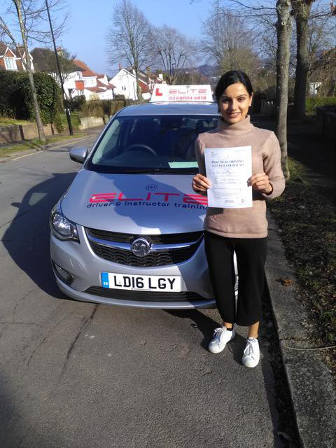 Sanan passed her test with Paul at Carshalton test centre