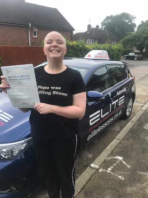 Sophie passed her test at Riegate after taking driving lessons with Ian